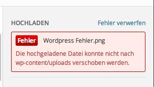 """Fehlermeldung bei Bilderupload in WordPress """"Bei dem Upload ist ein Fehler aufgetaucht"""" Der Pade image 3"""