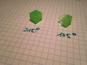 Links PLA mit 210° gedruckt und rechts PLA mit 175° gedruckt.
