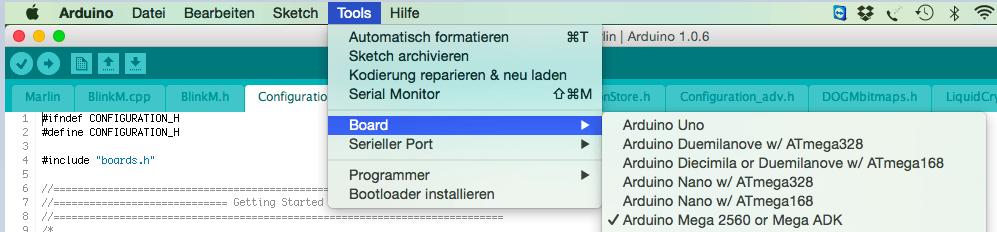 Arduino IDE Board auswählen