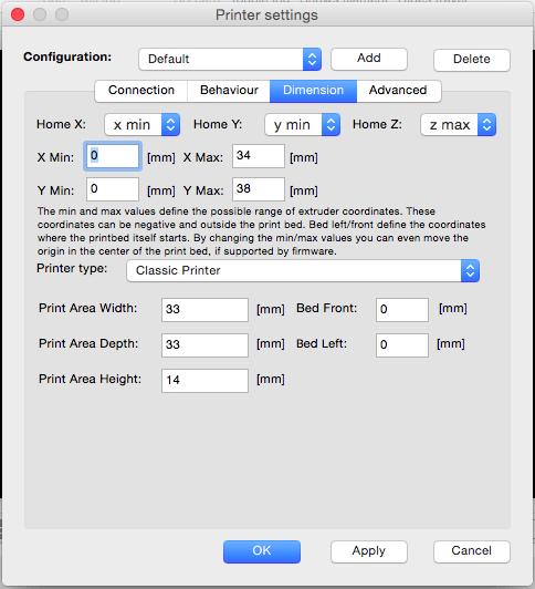 Repetier Host Printer Settings Dimension