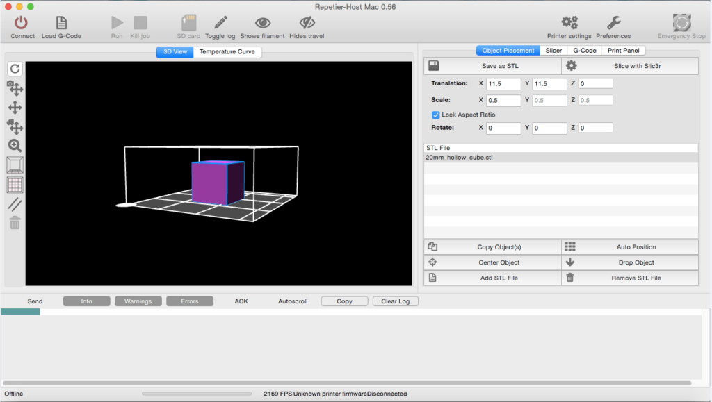 Repetier Host STL File Cube