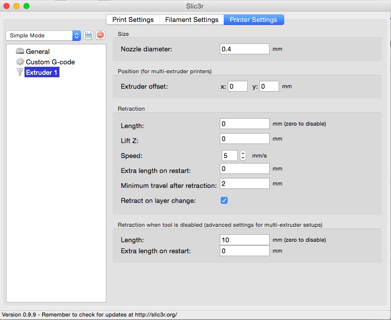 Slic3r 'Extruder settings
