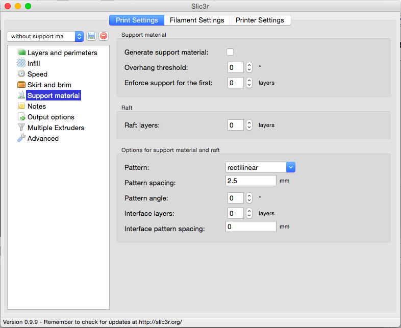 Slic3r Print settings support material
