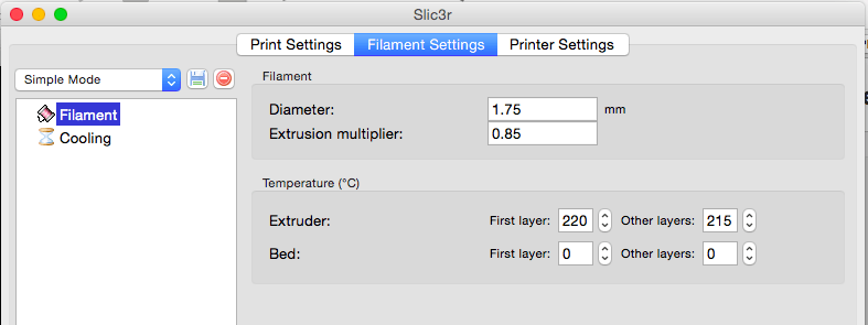 Slic3r filament settings