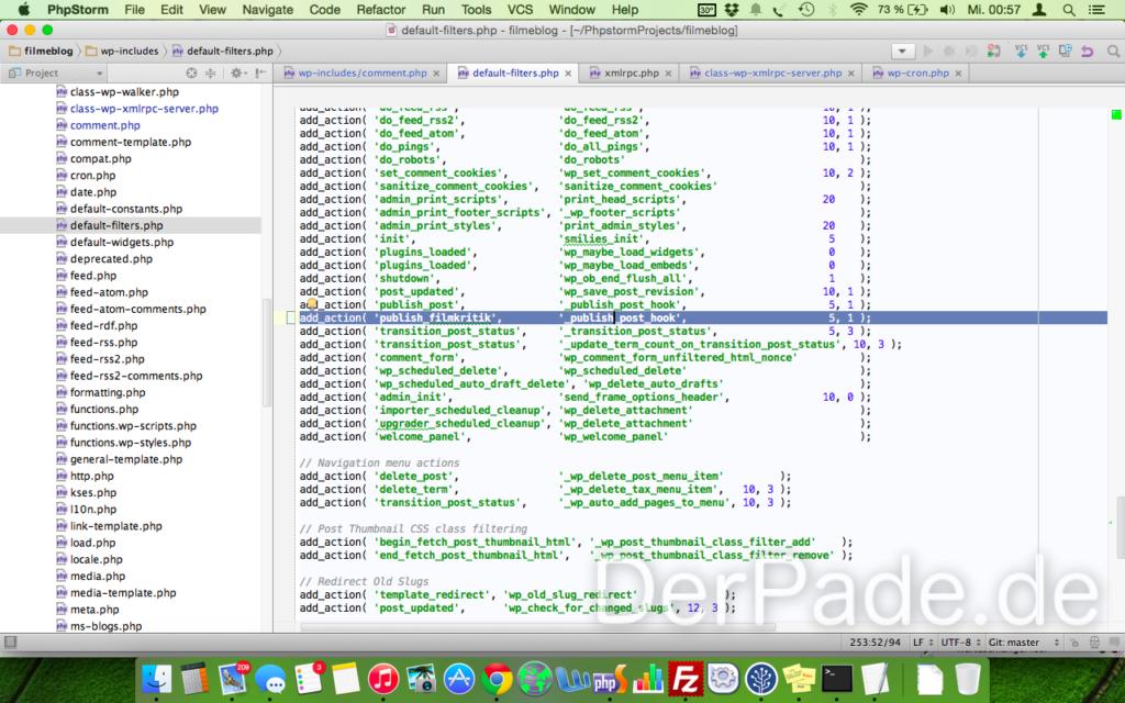 In der default-filters.php müssen wir noch eine Action für unseren custom post type hinzufügen.