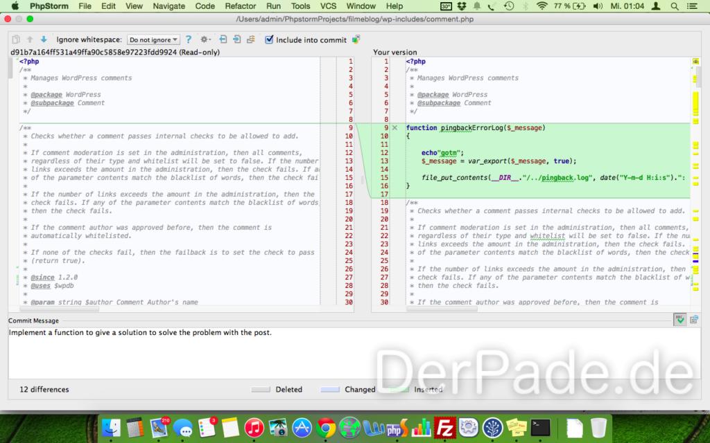 In der comment.php bauen wir ein bisschen debug-code ein, der uns ein paar Log-Meldungen in einer separaten Datei erzeugt.