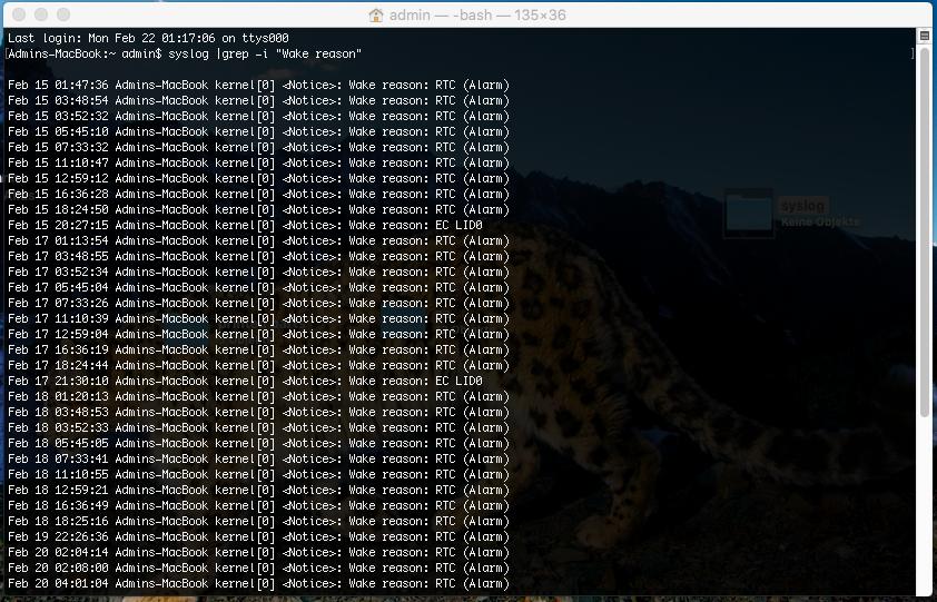 Wie man erkennen kann, wird mein Mac zyklisch ca. alle 2 Stunden aufgeweckt.