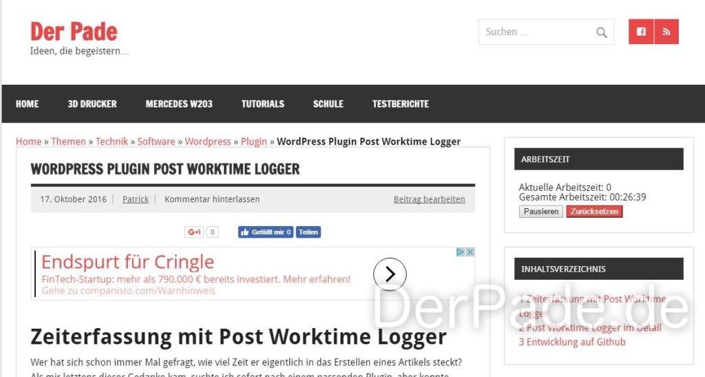Post Worktime Logger v1.2.3 - Implementierung eines Frontend Widget, welches das Tracken der Arbeitszeit auch im Frontend für eingeloggte Benutzer ermöglicht.