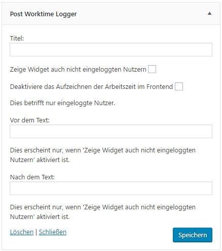 Post Worktime Logger v1.4.0 - In den Widget-Optionen hat man nun die Möglichkeit den Frontend-Timer zu deaktivieren.