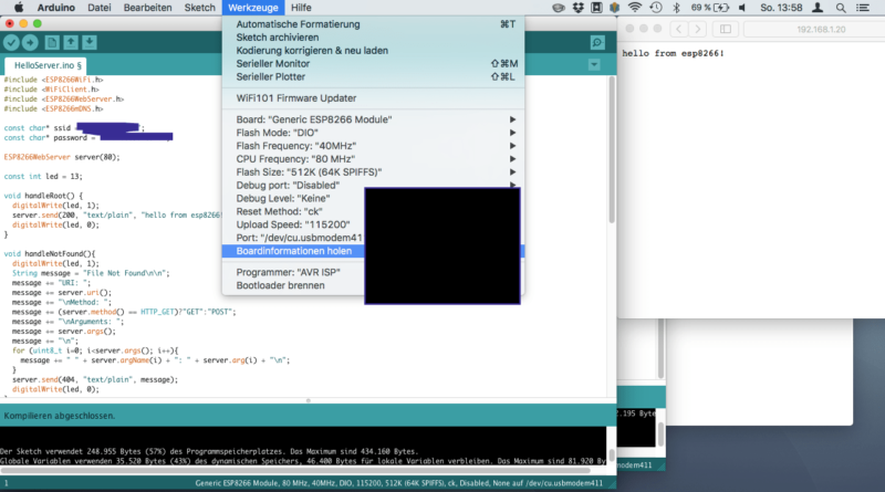 ESP8266 in Arduino IDE auswählen