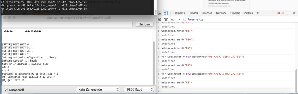 Hier seht ihr recht die Entwicklerkonsole vom Chrome, dort wurde eine Websocket-Verbindung zum ESP8266 aufgebaut.