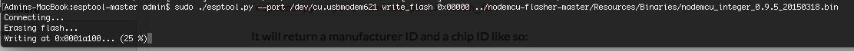 esptool.py beginnt nun den ESP8266 zu flashen.
