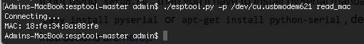 In der Konsole wird die MAC Adresse vom ESP-Chip ausgegeben.
