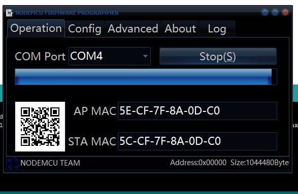 Nun wählt ihr den COM Port aus und flasht den ESP8266.