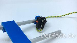 Backpack - Bauanleitung Mechanik - Endstop montieren an Alu-Rundstab