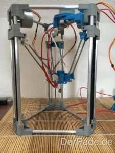 BackpackMiniDelta 3D Drucker Prototyp - Aktueller Prototyp mit Hotend