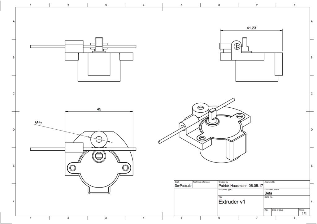 Der Backpack mini Delta 3D Drucker - Extruder Zeichnung V1