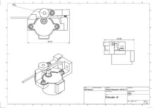 Der Backpack mini Delta 3D Drucker - Extruder V2 Bauzeichnung V4