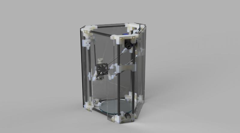 Der Backpack mini Delta 3D Drucker Gesamt Konzept V44