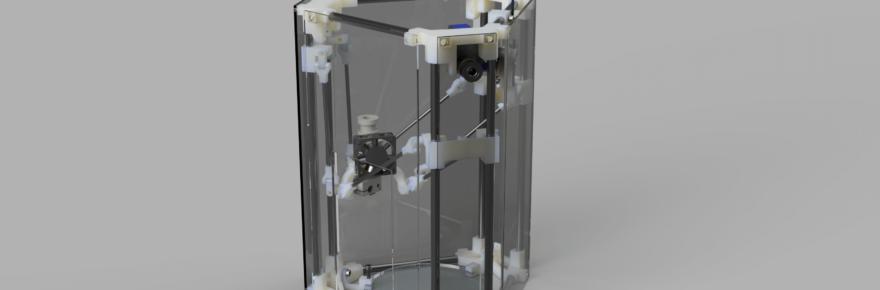 Der Backpack mini Delta 3D Drucker - Gesamt Konzept V44