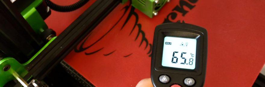 Bei eingestellten 65°C erreicht das 230V-Druckbett diese Temperatur binnen weniger Sekunden.