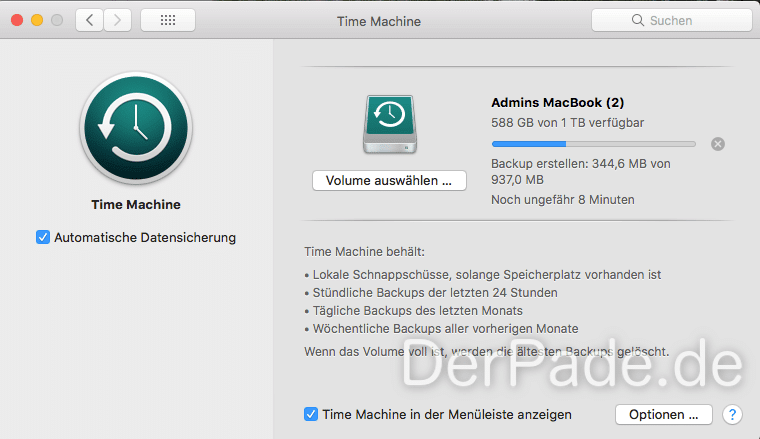 Time Machine Backup auf externer USB Festplatte an einer AVM FRITZ Box 7530 erstellen Backup erstellen