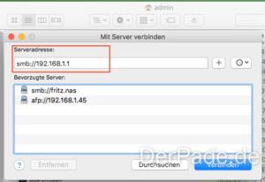 Time Machine Backup auf externer USB Festplatte an einer AVM FRITZ Box 7530 erstellen Server im Finder auswählen